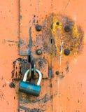 Closed lock on the door rusty Stock Photos