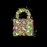 Closed lock, floral style. Royalty Free Stock Photo
