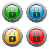 Closed lock icon on glass button set Royalty Free Stock Image