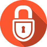 Closed lock icon. Closed lock round vector icon with long shadow Royalty Free Stock Photos