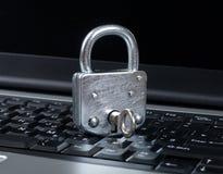 Closed lock on laptop Stock Photography