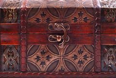 Closed and locked treasure chest Stock Photo