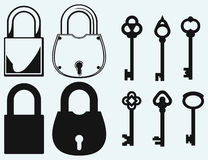 Closed locks security icon. Antique keys collection Stock Images