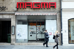 Closed Magma store. ZAGREB, CROATIA - FEBRUARY 24 : People in the street passing by the closed Magma store on February 24th, 2014 in street Ilica in Zagreb Royalty Free Stock Photos
