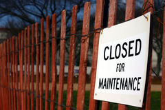 Closed for maintenance. Sign on red fence on Washington Mall royalty free stock photos