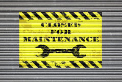 Closed For Maintenance Shutter Royalty Free Stock Image