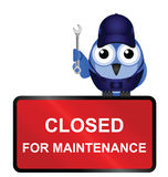Closed for maintenance sign. Comical website closed for maintenance sign isolated on white background Royalty Free Stock Images