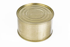 Closed metal can with fish or canned meat Royalty Free Stock Images