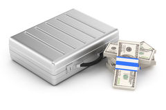 Closed metal case and dollars Royalty Free Stock Image