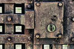 Closed metal door with lock Royalty Free Stock Images
