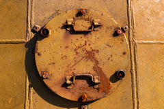 Closed metal hatchway of the abandoned missile silos Stock Images