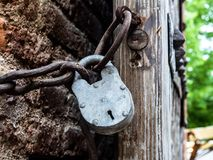 Closed metal padlock and chain royalty free stock photos