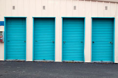 Closed metal roll up doors Royalty Free Stock Photos