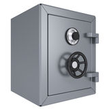 Closed metal safe. Isolated render on a white background Stock Photos