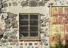 Closed  metal window with protecting frame Royalty Free Stock Photography