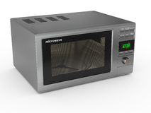 Closed metallic microwave. 3d Stock Photo