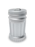 Closed metallic trash can Stock Photo