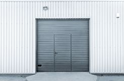 Closed modern garage or warehouse doors stock photo