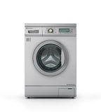 Closed modern washing machine in metallic color. Royalty Free Stock Image