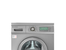 Closed modern washing machine in metallic color. Royalty Free Stock Images