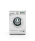 Closed modern washing machine in white color Royalty Free Stock Photos