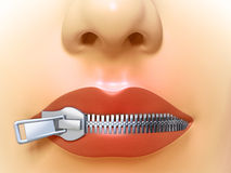 Closed mouth. Female mouth closed by a metal zipper. Digital illustration Stock Photo