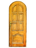 Closed natural wooden door isolated Royalty Free Stock Photography