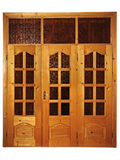 Closed natural wooden triple door Royalty Free Stock Photo
