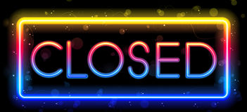 Closed Neon Sign. Rainbow Color Stock Images