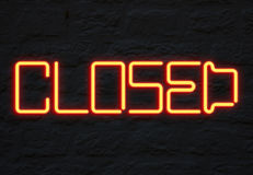 Closed neon sign Stock Photography