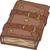 Closed Notebook or Book with Brown Leather Cover and Clasps Stock Images