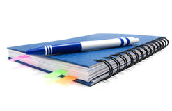 Closed notebook with bookmarks and pen Stock Photos