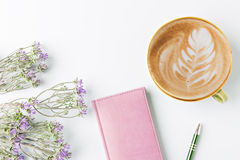 Closed notebook with pen. And coffee, flat lay Royalty Free Stock Photography