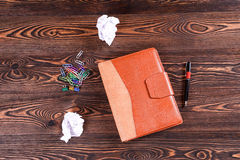 Closed notebook on the table. Top view Royalty Free Stock Image