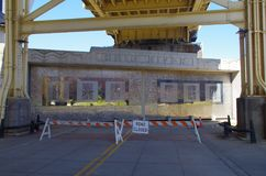 Closed Ohio flood doors. In late February, early March 2018 the city of Louisville in Kentucky closed the flood doors downtown to prevent the Ohio river flooding stock photo