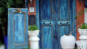 Closed old blue authentic wooden door, soft focus, Turkey, Kas stock video
