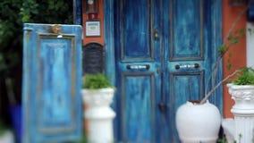 Closed old blue authentic wooden door, soft focus, Turkey, Kas stock video