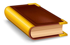 Closed old book. In leather cover and with golden decoration Stock Photos