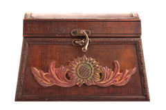 Free Closed Old Brown Treasure Chest Isolated On White Stock Image - 14584621