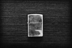 Free Closed Old Lighter On Wooden Table Stock Image - 188956071