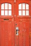 Closed old red door Stock Image