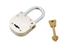 Closed Old Style Padlock with Key Isolated on Whit Royalty Free Stock Photos
