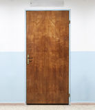 Closed old wooden office door, background texture Stock Images