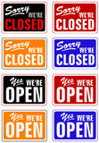 Closed and open. Eight signs closed and open Stock Illustration