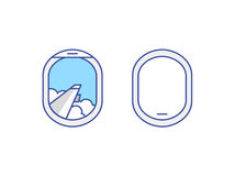 Closed and open airplane window icons set Stock Photography