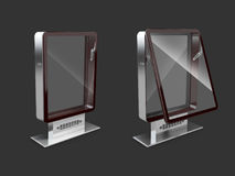 Closed and Open Billboards with transparent glass, isolated black, 3d Illustration.  Royalty Free Stock Photo
