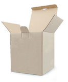 Closed open cardboard box taped up and isolated Royalty Free Stock Image