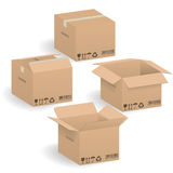 Closed and open Cardboard boxes Stock Photography