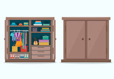 Closed and open cloths wardrobe. Royalty Free Stock Photography