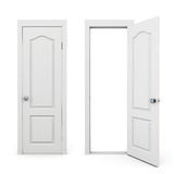 Closed and open door on a white Royalty Free Stock Photography